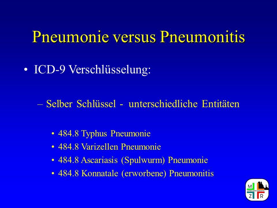 Pneumonie versus Pneumonitis ICD-9 Verschlüsselung: –Selber Schlüssel - unterschiedliche Entitäten 484.8 Typhus Pneumonie 484.8 Varizellen Pneumonie 4