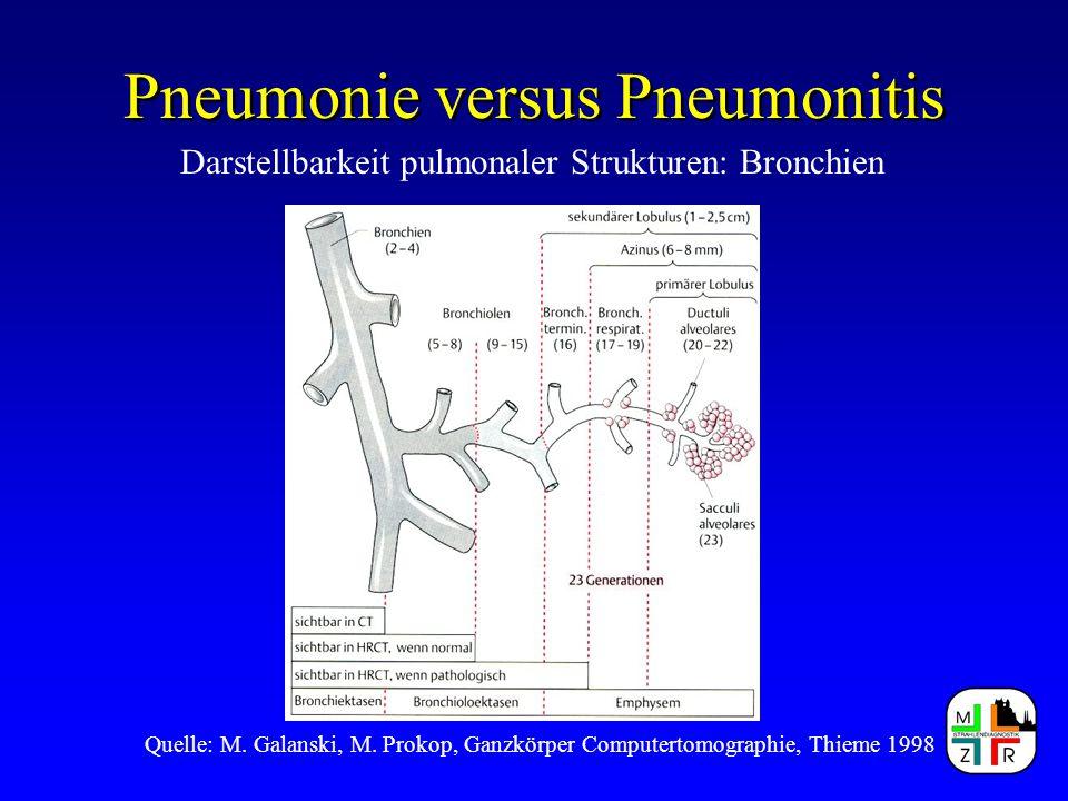 Pneumonie versus Pneumonitis Quelle: M. Galanski, M. Prokop, Ganzkörper Computertomographie, Thieme 1998 Darstellbarkeit pulmonaler Strukturen: Bronch