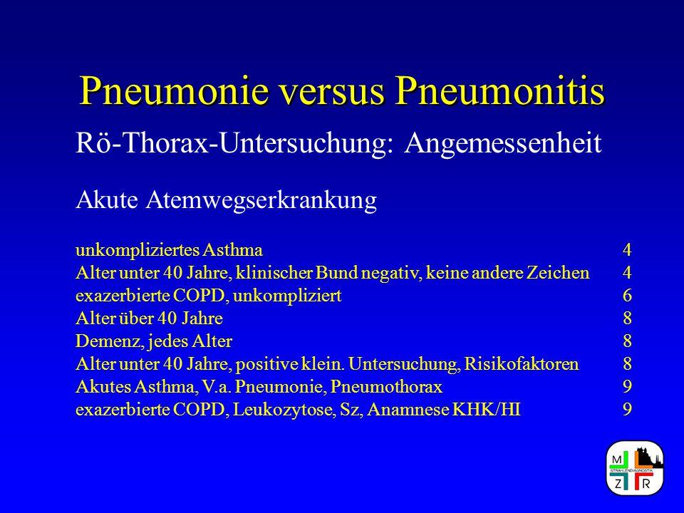 Pneumonie versus Pneumonitis Rö-Thorax-Untersuchung: Angemessenheit Akute Atemwegserkrankung unkompliziertes Asthma4 Alter unter 40 Jahre, klinischer