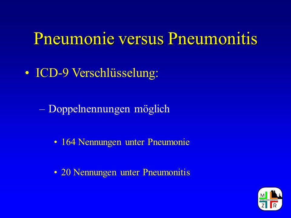 Pneumonie versus Pneumonitis ICD-9 Verschlüsselung: –508.9 Pneumonie durch Bestrahlung Klassische Form einer Pneumonitis ausgelöst durch physikalische Noxen !