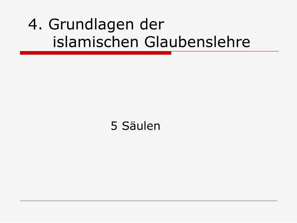 4. Grundlagen der islamischen Glaubenslehre 5 Säulen