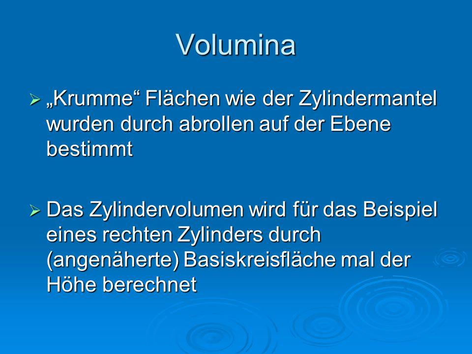 """Volumina  """"Krumme"""" Flächen wie der Zylindermantel wurden durch abrollen auf der Ebene bestimmt  Das Zylindervolumen wird für das Beispiel eines rech"""
