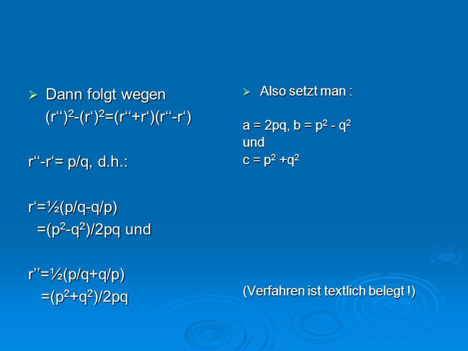  Dann folgt wegen (r'') 2 -(r') 2 =(r''+r')(r''-r') (r'') 2 -(r') 2 =(r''+r')(r''-r') r''-r'= p/q, d.h.: r'=½(p/q-q/p) =(p 2 -q 2 )/2pq und =(p 2 -q