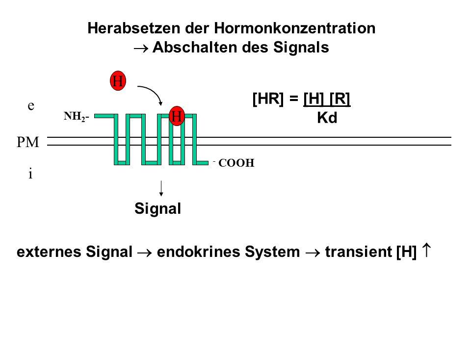 Herabsetzen der Hormonkonzentration  Abschalten des Signals e i PM NH 2 - - COOH H [HR] = [H] [R] Kd H Signal externes Signal  endokrines System  t
