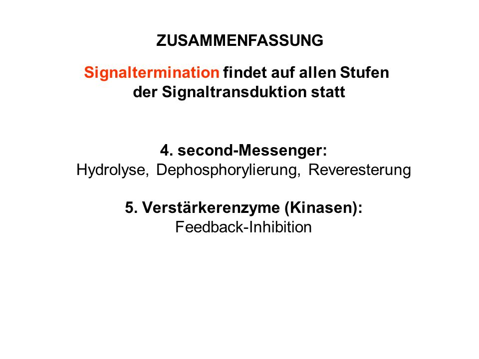 4. second-Messenger: Hydrolyse, Dephosphorylierung, Reveresterung 5. Verstärkerenzyme (Kinasen): Feedback-Inhibition ZUSAMMENFASSUNG Signaltermination