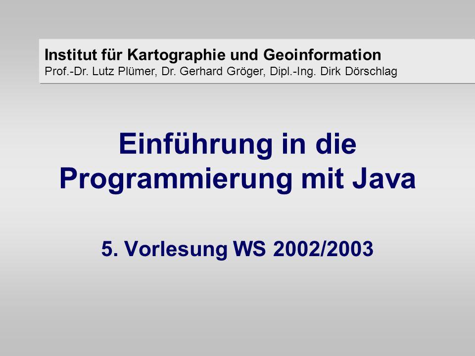 Java - Klassen - Zugriff auf Attribute aus Methoden - IKG Dörschlag, Gröger, Plümer – Einführung in die Programmierung mit Java – WS 03/04 Beispiel : class Punkt2D { int nummer; double x, y; void setPosition( double wert_x, double wert_y){ x = wert_x; y = wert_y; } der Zugriff auf Attribute der Klasse aus ihren Methoden erfolgt genau wie bei Variablen der Methoden