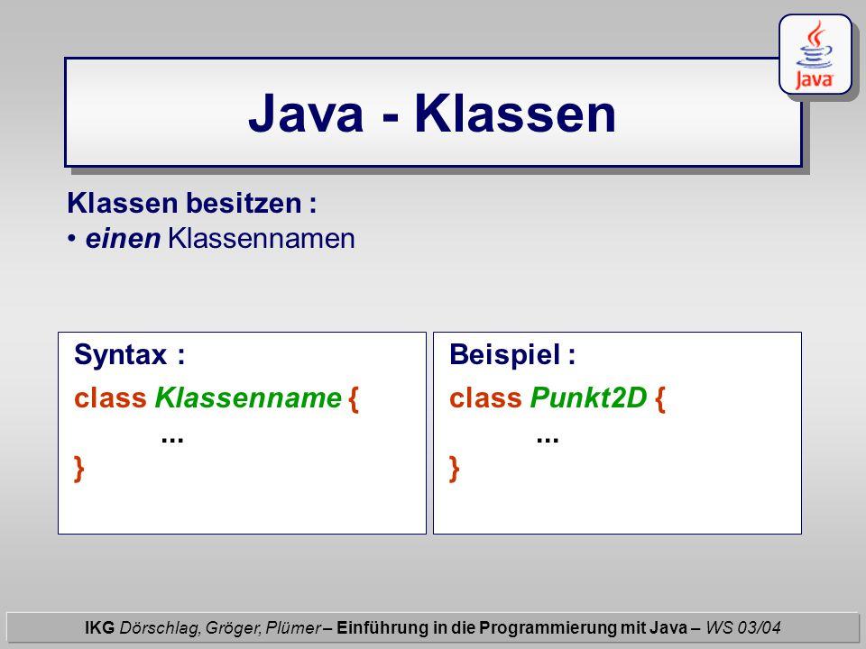 Java - Klassen IKG Dörschlag, Gröger, Plümer – Einführung in die Programmierung mit Java – WS 03/04 Klassen besitzen : einen Klassennamen Syntax : cla