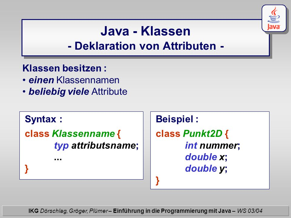 Java - Klassen - Deklaration von Attributen - IKG Dörschlag, Gröger, Plümer – Einführung in die Programmierung mit Java – WS 03/04 Klassen besitzen :