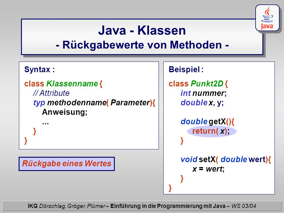 Java - Klassen - Rückgabewerte von Methoden - IKG Dörschlag, Gröger, Plümer – Einführung in die Programmierung mit Java – WS 03/04 Syntax : class Klassenname { // Attribute typ methodenname( Parameter){ Anweisung;...