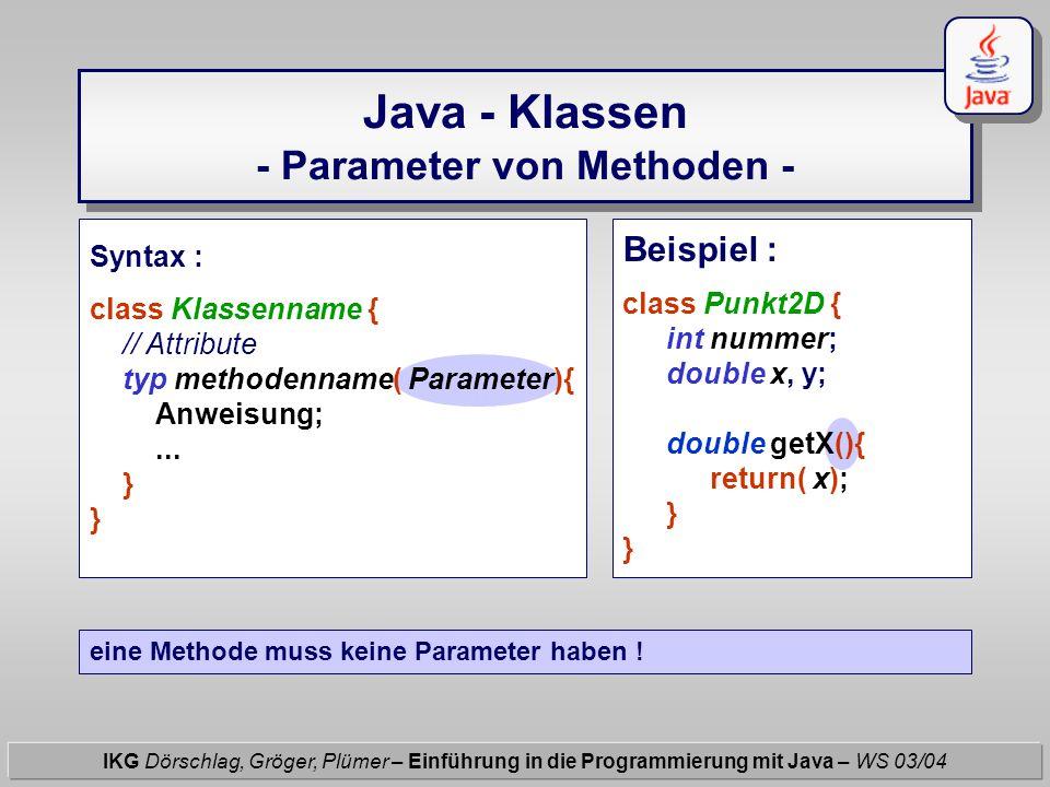 Java - Klassen - Parameter von Methoden - IKG Dörschlag, Gröger, Plümer – Einführung in die Programmierung mit Java – WS 03/04 Beispiel : class Punkt2
