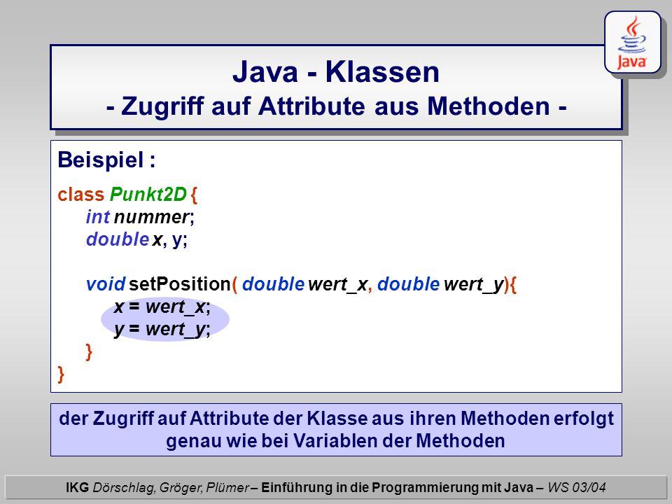Java - Klassen - Zugriff auf Attribute aus Methoden - IKG Dörschlag, Gröger, Plümer – Einführung in die Programmierung mit Java – WS 03/04 Beispiel :