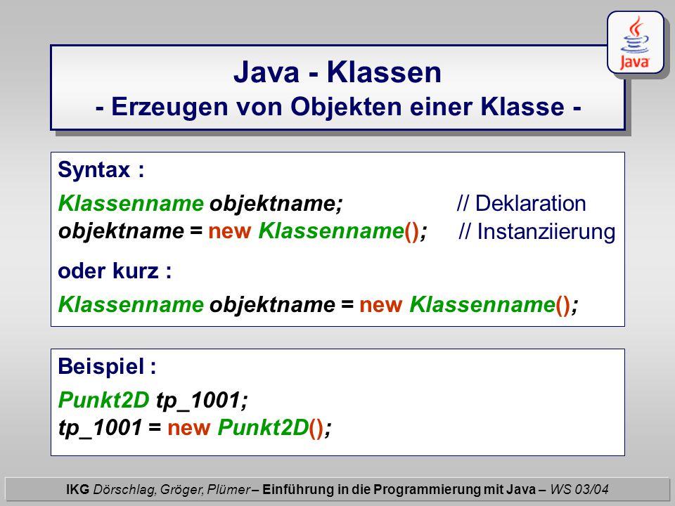 Java - Klassen - Erzeugen von Objekten einer Klasse - IKG Dörschlag, Gröger, Plümer – Einführung in die Programmierung mit Java – WS 03/04 Syntax : Kl