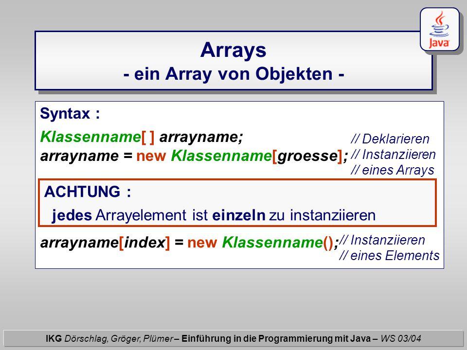 Arrays - ein Array von Objekten - IKG Dörschlag, Gröger, Plümer – Einführung in die Programmierung mit Java – WS 03/04 Syntax : Klassenname[ ] arrayna