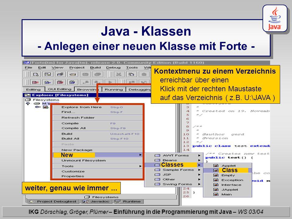 Java - Klassen - Anlegen einer neuen Klasse mit Forte - IKG Dörschlag, Gröger, Plümer – Einführung in die Programmierung mit Java – WS 03/04 Kontextme