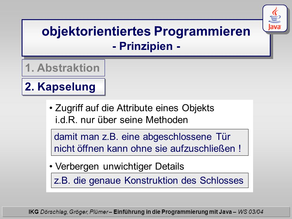 Übungsaufgabe (1/2) IKG Dörschlag, Gröger, Plümer – Einführung in die Programmierung mit Java – WS 03/04 Hinweis zu (2.) : Lege eine neue Klasse Kreise an und innerhalb von main(...){ } geht's weiter...