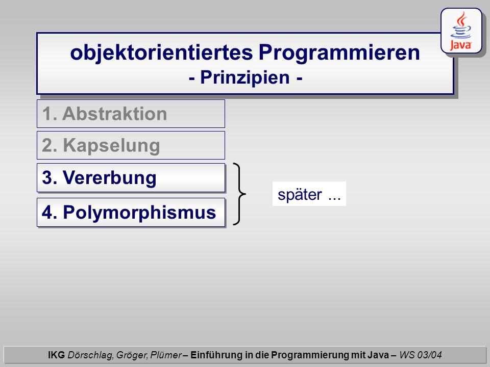 Java - Klassen IKG Dörschlag, Gröger, Plümer – Einführung in die Programmierung mit Java – WS 03/04 Klassen besitzen : einen Klassennamen Syntax : class Klassenname {...