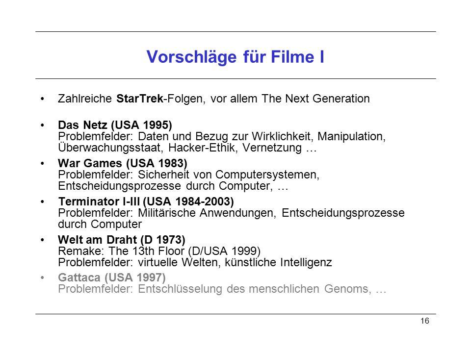 16 Vorschläge für Filme I Zahlreiche StarTrek-Folgen, vor allem The Next Generation Das Netz (USA 1995) Problemfelder: Daten und Bezug zur Wirklichkei