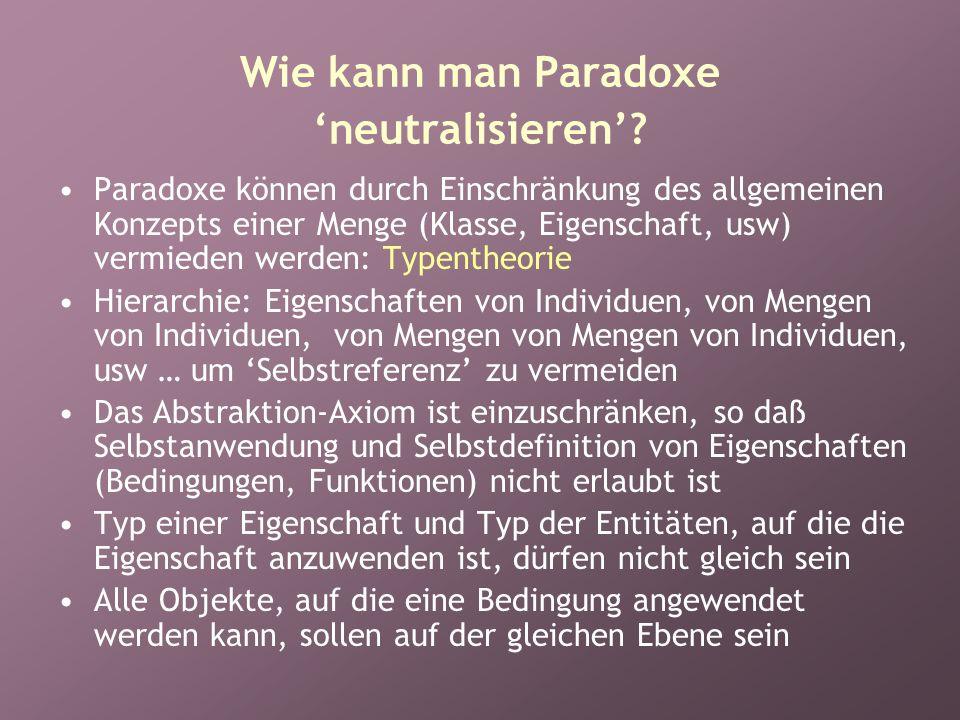 Wie kann man Paradoxe 'neutralisieren'.