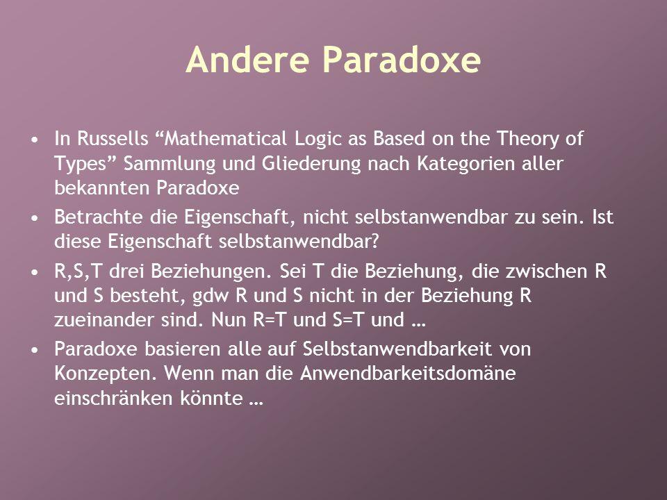 Andere Paradoxe In Russells Mathematical Logic as Based on the Theory of Types Sammlung und Gliederung nach Kategorien aller bekannten Paradoxe Betrachte die Eigenschaft, nicht selbstanwendbar zu sein.