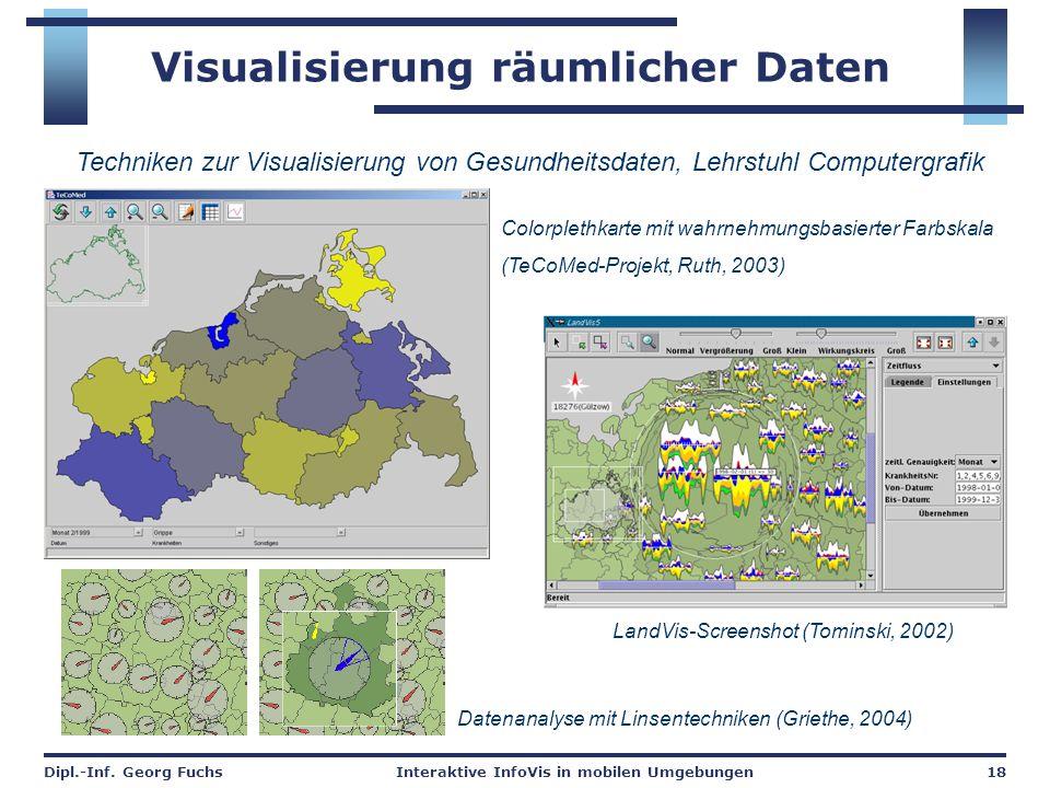 Dipl.-Inf. Georg FuchsInteraktive InfoVis in mobilen Umgebungen18 Visualisierung räumlicher Daten Colorplethkarte mit wahrnehmungsbasierter Farbskala