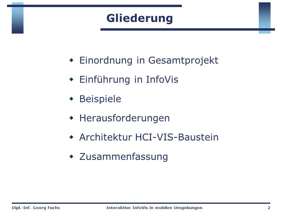 Dipl.-Inf. Georg FuchsInteraktive InfoVis in mobilen Umgebungen2 Gliederung  Einordnung in Gesamtprojekt  Einführung in InfoVis  Beispiele  Heraus