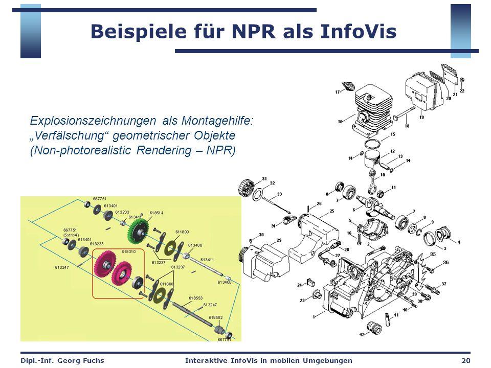 """Dipl.-Inf. Georg FuchsInteraktive InfoVis in mobilen Umgebungen20 Beispiele für NPR als InfoVis Explosionszeichnungen als Montagehilfe: """"Verfälschung"""""""