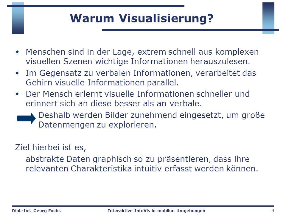 Dipl.-Inf. Georg FuchsInteraktive InfoVis in mobilen Umgebungen4 Warum Visualisierung?  Menschen sind in der Lage, extrem schnell aus komplexen visue