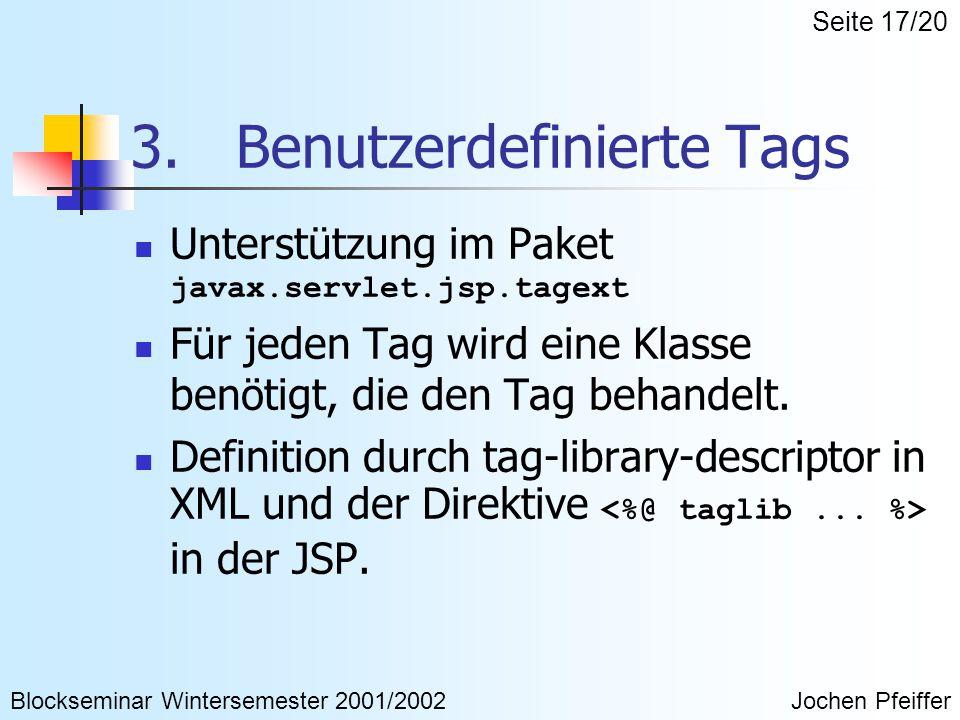3. Benutzerdefinierte Tags Unterstützung im Paket javax.servlet.jsp.tagext Für jeden Tag wird eine Klasse benötigt, die den Tag behandelt. Definition