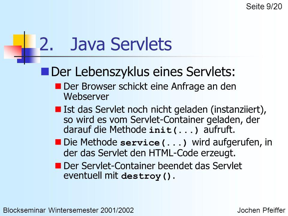 2. Java Servlets Der Lebenszyklus eines Servlets: Der Browser schickt eine Anfrage an den Webserver Ist das Servlet noch nicht geladen (instanziiert),
