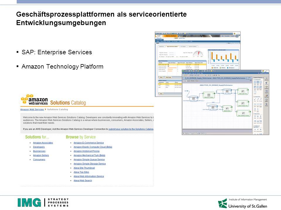 Geschäftsprozessplattformen als serviceorientierte Entwicklungsumgebungen  SAP: Enterprise Services  Amazon Technology Platform