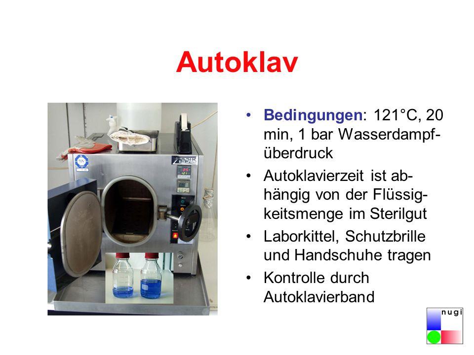 Autoklav Bedingungen: 121°C, 20 min, 1 bar Wasserdampf- überdruck Autoklavierzeit ist ab- hängig von der Flüssig- keitsmenge im Sterilgut Laborkittel, Schutzbrille und Handschuhe tragen Kontrolle durch Autoklavierband