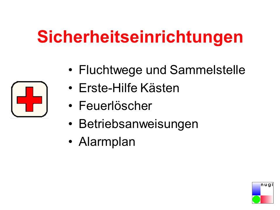 Sicherheitseinrichtungen Fluchtwege und Sammelstelle Erste-Hilfe Kästen Feuerlöscher Betriebsanweisungen Alarmplan