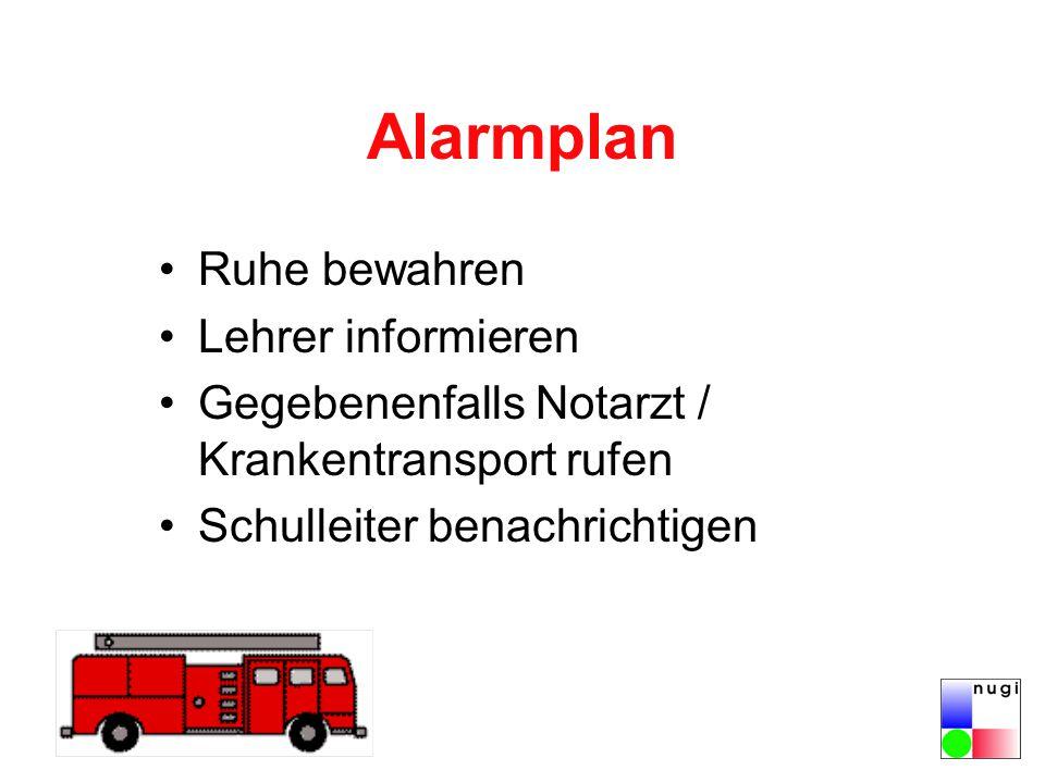 Alarmplan Ruhe bewahren Lehrer informieren Gegebenenfalls Notarzt / Krankentransport rufen Schulleiter benachrichtigen