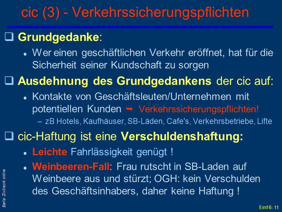 Einf 6- 11 Barta: Zivilrecht online cic (3) - Verkehrssicherungspflichten qGrundgedanke: l Wer einen geschäftlichen Verkehr eröffnet, hat für die Sich