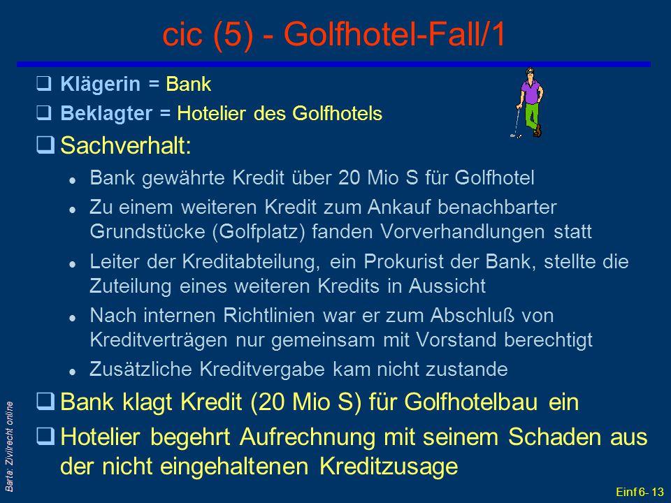 Einf 6- 13 Barta: Zivilrecht online cic (5) - Golfhotel-Fall/1 qKlägerin = Bank qBeklagter = Hotelier des Golfhotels qSachverhalt: l Bank gewährte Kre