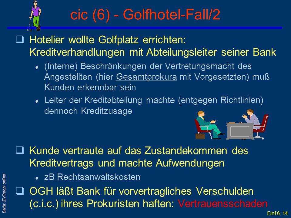 Einf 6- 14 Barta: Zivilrecht online cic (6) - Golfhotel-Fall/2 qHotelier wollte Golfplatz errichten: Kreditverhandlungen mit Abteilungsleiter seiner B