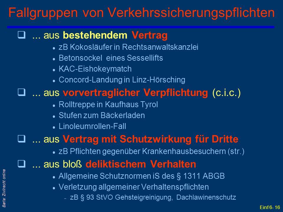 Einf 6- 16 Barta: Zivilrecht online Fallgruppen von Verkehrssicherungspflichten q... aus bestehendem Vertrag l zB Kokosläufer in Rechtsanwaltskanzlei