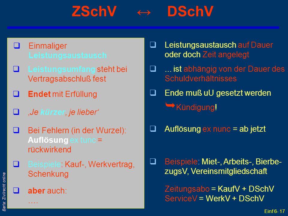 Einf 6- 17 Barta: Zivilrecht online ZSchV ↔ DSchV qEinmaliger Leistungsaustausch qLeistungsaustausch auf Dauer oder doch Zeit angelegt qLeistungsumfan