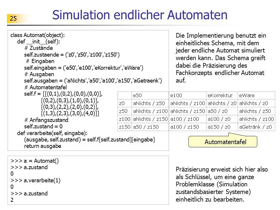 25 Simulation endlicher Automaten Automatentafel class Automat(object): def __init__(self): # Zustände self.zustaende = ('z0','z50','z100','z150') # E