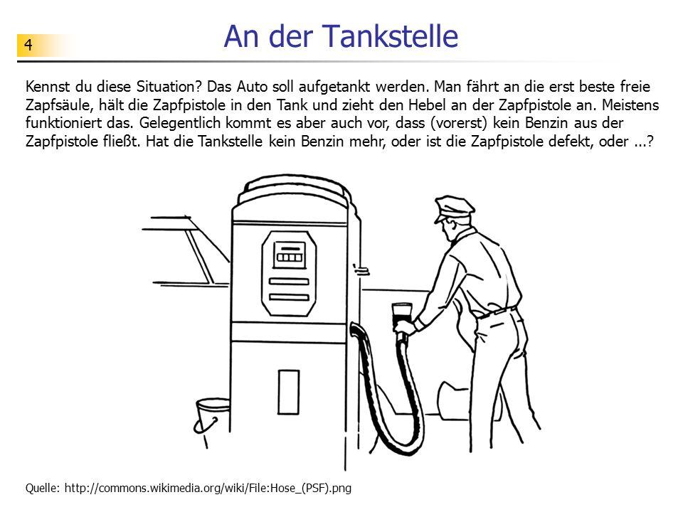 4 An der Tankstelle Quelle: http://commons.wikimedia.org/wiki/File:Hose_(PSF).png Kennst du diese Situation? Das Auto soll aufgetankt werden. Man fähr