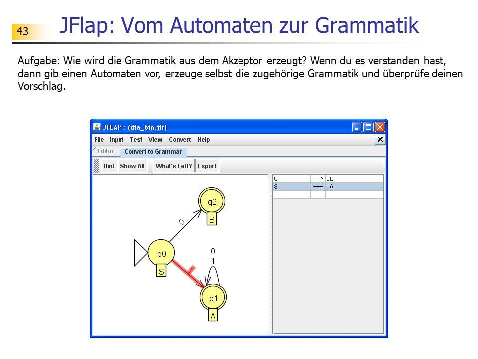 43 JFlap: Vom Automaten zur Grammatik Aufgabe: Wie wird die Grammatik aus dem Akzeptor erzeugt? Wenn du es verstanden hast, dann gib einen Automaten v