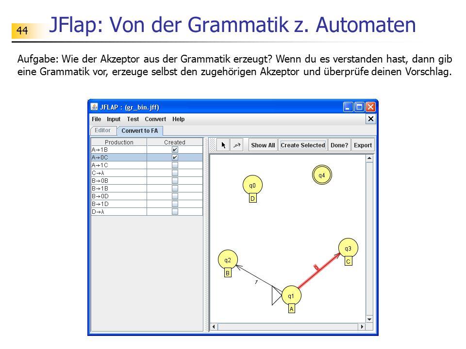 44 JFlap: Von der Grammatik z. Automaten Aufgabe: Wie der Akzeptor aus der Grammatik erzeugt? Wenn du es verstanden hast, dann gib eine Grammatik vor,