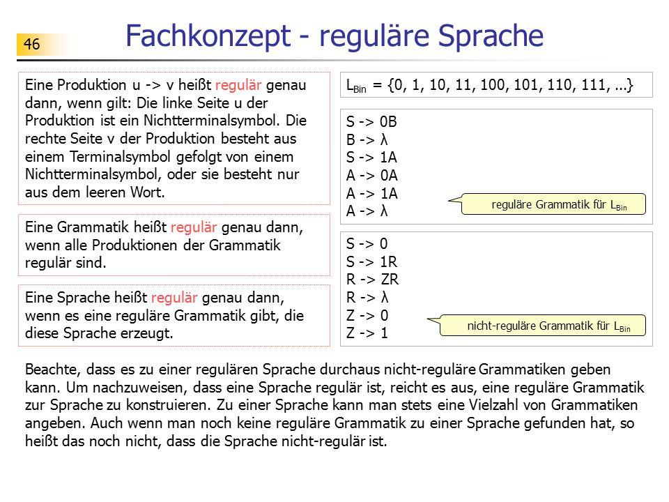 46 Fachkonzept - reguläre Sprache Eine Produktion u -> v heißt regulär genau dann, wenn gilt: Die linke Seite u der Produktion ist ein Nichtterminalsy