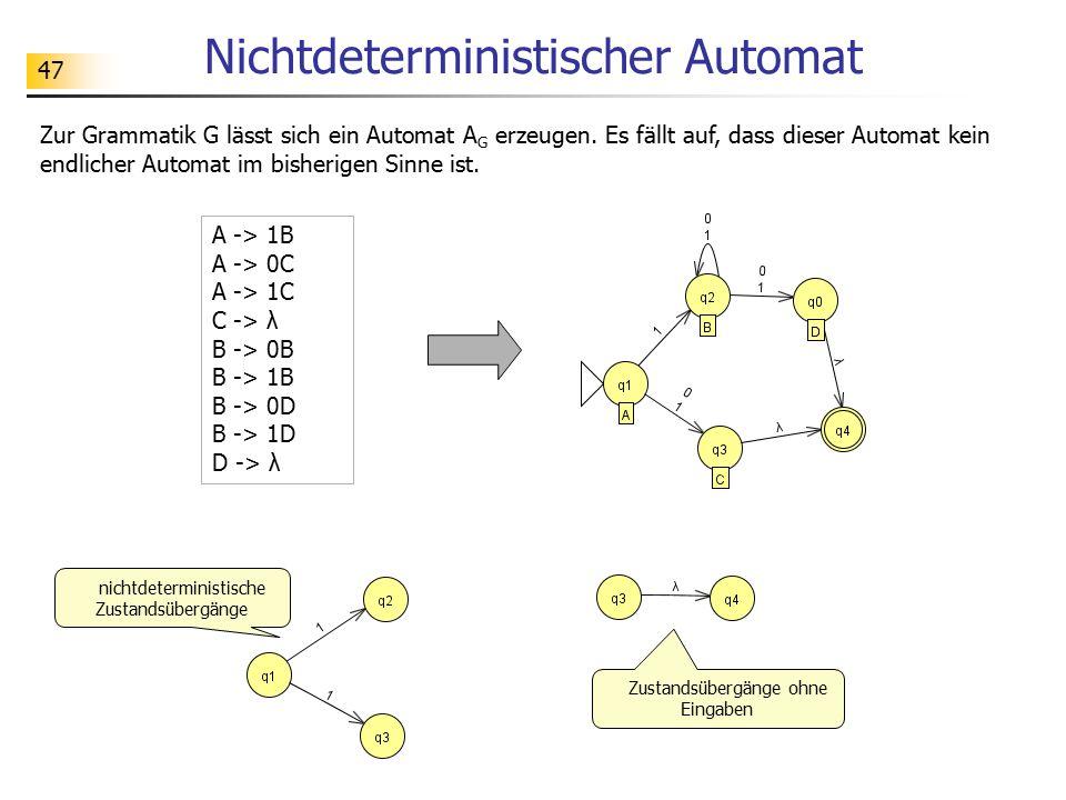 47 Nichtdeterministischer Automat A -> 1B A -> 0C A -> 1C C -> λ B -> 0B B -> 1B B -> 0D B -> 1D D -> λ Zur Grammatik G lässt sich ein Automat A G erz