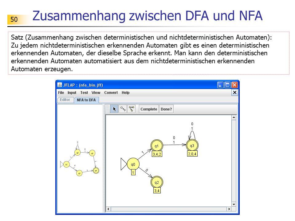 50 Zusammenhang zwischen DFA und NFA Satz (Zusammenhang zwischen deterministischen und nichtdeterministischen Automaten): Zu jedem nichtdeterministisc