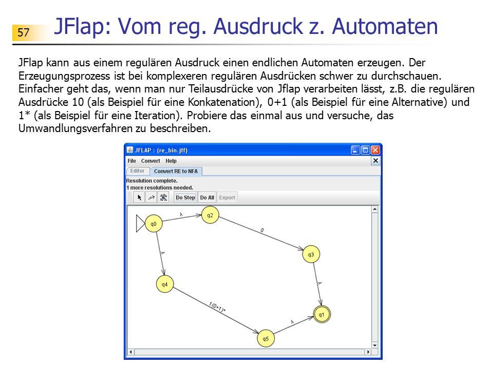 57 JFlap: Vom reg. Ausdruck z. Automaten JFlap kann aus einem regulären Ausdruck einen endlichen Automaten erzeugen. Der Erzeugungsprozess ist bei kom