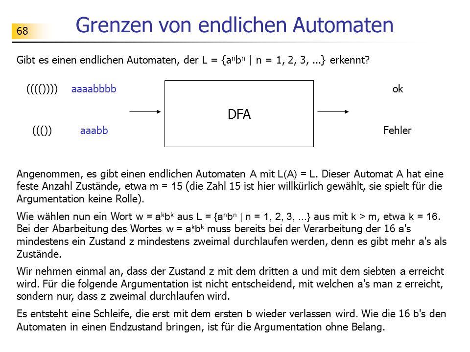 68 Grenzen von endlichen Automaten Gibt es einen endlichen Automaten, der L = {a n b n   n = 1, 2, 3,...} erkennt? DFA ok(((()))) Fehler((()) Angenomm