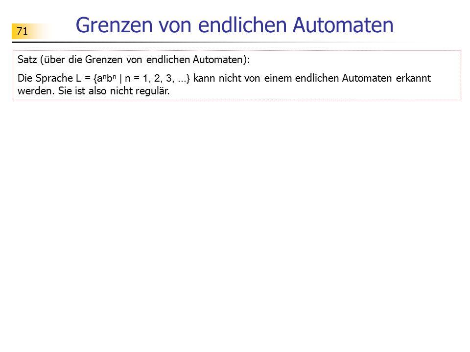 71 Grenzen von endlichen Automaten Satz (über die Grenzen von endlichen Automaten): Die Sprache L = {a n b n   n = 1, 2, 3,...} kann nicht von einem e