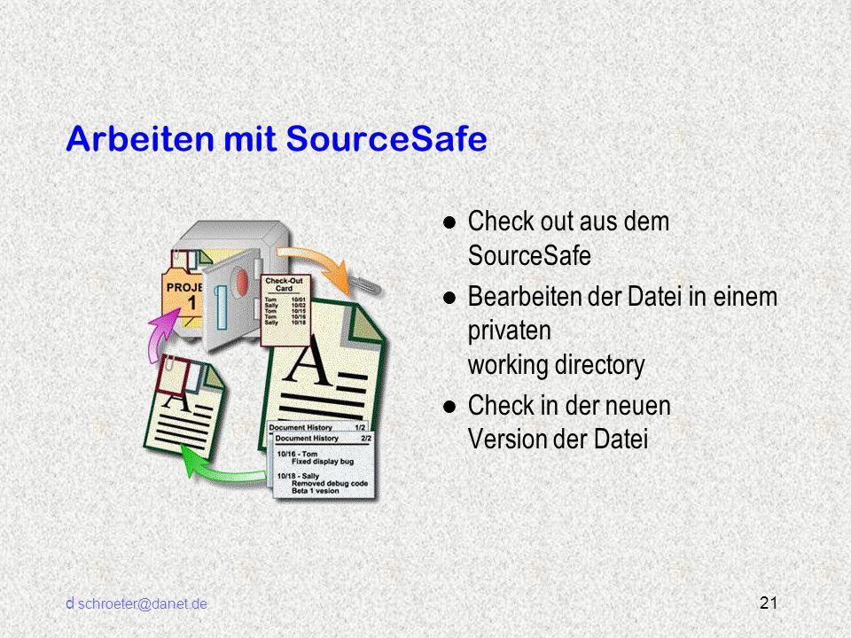 d schroeter@danet.de 21 Arbeiten mit SourceSafe l Check out aus dem SourceSafe l Bearbeiten der Datei in einem privaten working directory l Check in d
