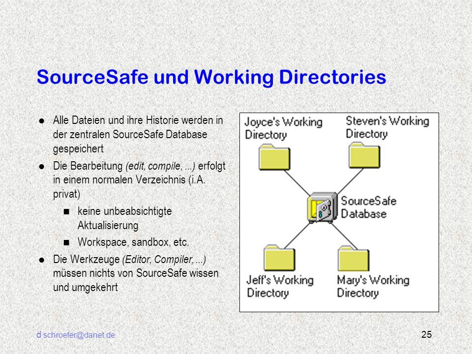 d schroeter@danet.de 25 SourceSafe und Working Directories l Alle Dateien und ihre Historie werden in der zentralen SourceSafe Database gespeichert l